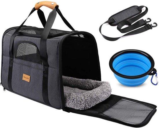 Rexa® Huisdiertas Grijs/Zwart Reis tas schoudertas voor honden en katten   huisdier kat vervoer   kattentas hondendraagtas transport meenemen vakantie   hondendrager reistas   carrier