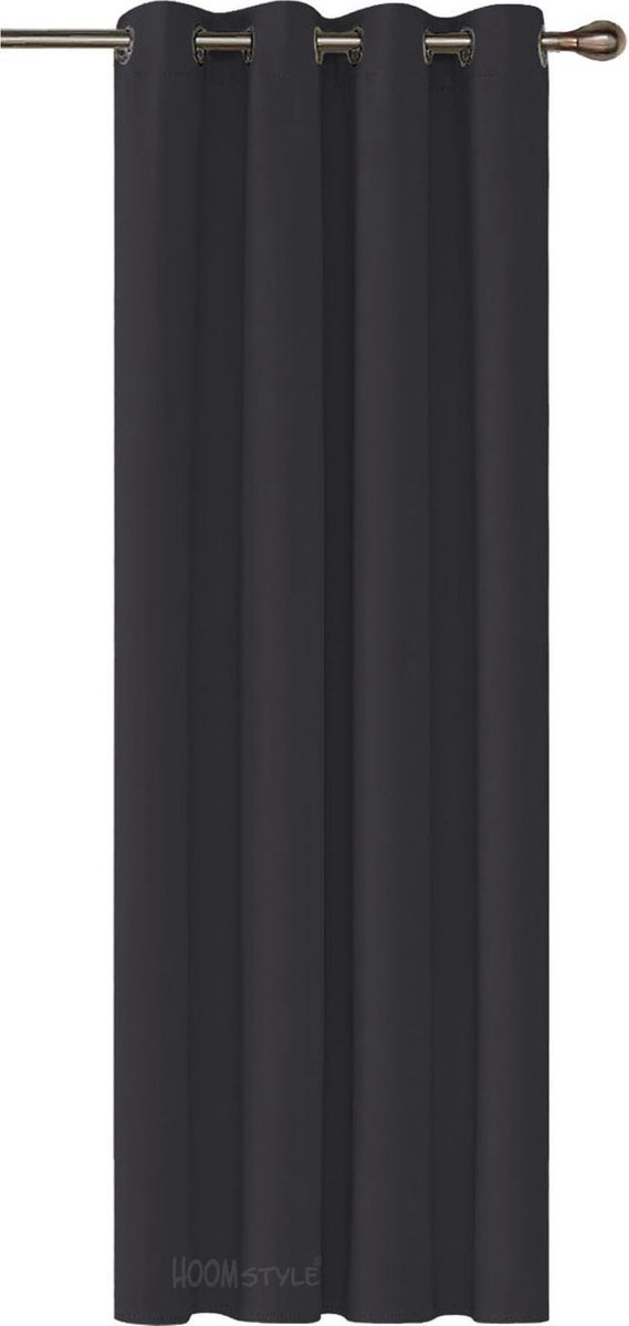 HOOMstyle Kant en Klaar Gordijn - Verduisterend - Met Ringen - 270x140cm - Zwart - 1 Stuk