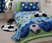 2 persoons jongensdekbedovertrek voetballen blauw CL