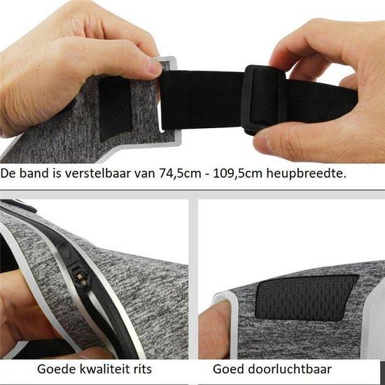 Heuptasje - Heuptas - Heuptasje Voor Joggen - One Size - Professionele Hardloopriem - Sportband Voor Smartphone - Waterbestendig - Hardloopriem - Hardlopen - Riem - Grijs