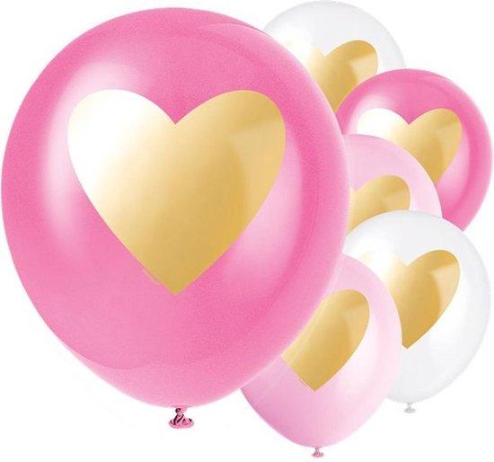 Ballonnen Gouden Hart Lichtroze Roze Wit - 6 stuks