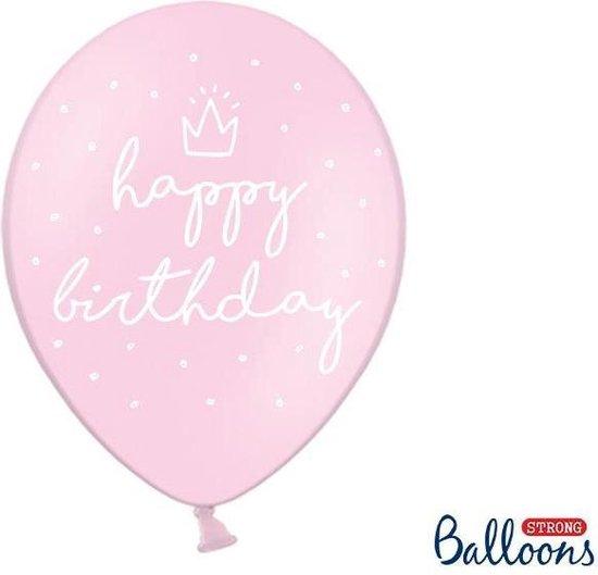 Strong Ballonnen 30cm, happy..., P. B. roze (1 zakje met 50 stuks