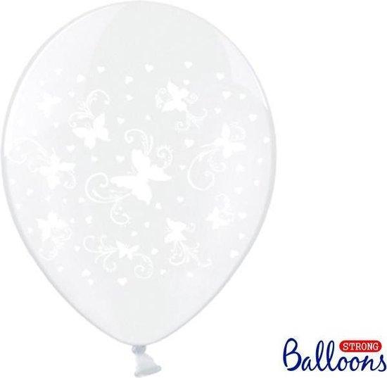 Ballonnen clear vlinders wit 50 stuks