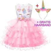 Eenhoorn jurk unicorn jurk eenhoorn kostuum - roze 128-134 (140) prinsessen jurk verkleedjurk + GRATIS haarband