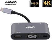 5 in 1 USB C naar HDMI 4K, VGA, usb-c opladen (thunderbolt), JACK en USB A | Type c adapter to HDMI, VGA, Type-C charging & USB 3.1 AUX | Apple Macbook | Chromebook | IMAC | Surface | XPS | Dell | Lenovo | Samsung | HP|A-KONIC©