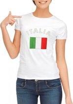 Wit dames t-shirt met vlag van Italie S