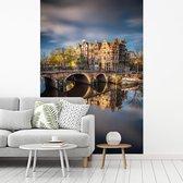 Typische herfstimpressie van de Prinsengracht in Amsterdam fotobehang vinyl breedte 175 cm x hoogte 260 cm - Foto print op behang (in 7 formaten beschikbaar)