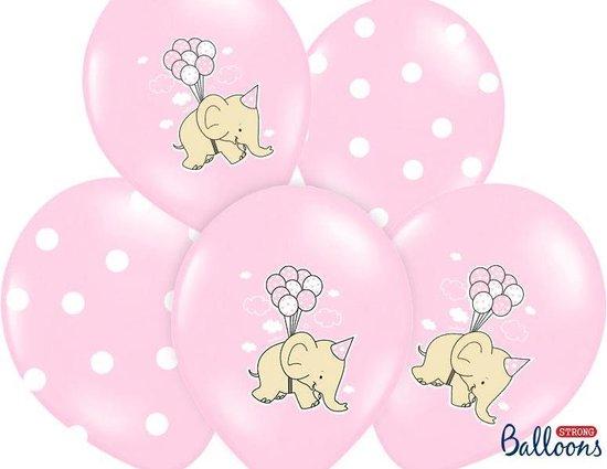 Ballonnen 30cm, Elephant, Pastel roze Mix (6 stuks)