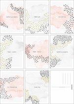 Fabrikten Watercolour Kaartenset – 8 stuks – A6 – Roze/Blauw/Grijs