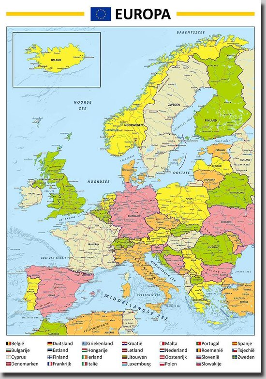 Bol Com Poster Kaart Europa 70x100 Cm Multi