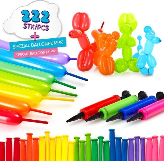 Lumaland - Modelleer ballonnen - Set van 222 ballonnen - Incl. professionele luchtpomp - In verschillende kleuren