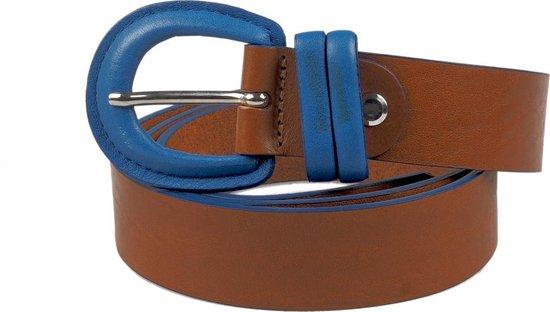 Moderne Dames Riem – Handgemaakt – Bruin met Blauwe Gesp – 90 cm