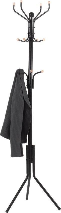 Design Kapstok met Twaalf Haken - Vintage Staande kapstok in 3 Lagen Haken voor Inkomhal Bistro of Gang - 182 cm - Zwart