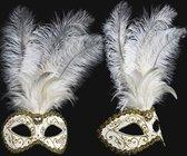 Venetiaans veren oogmasker wit met goud