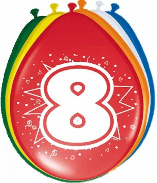 Ballonnen ster 30 cm: 8 jaar - 8 stuks (08208)