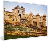 Foto in lijst - Vooraanzicht van het Fort Amber in India fotolijst wit 60x40 cm - Poster in lijst (Wanddecoratie woonkamer / slaapkamer)