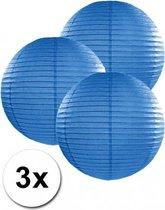 3 blauwe lampionnen 25 cm