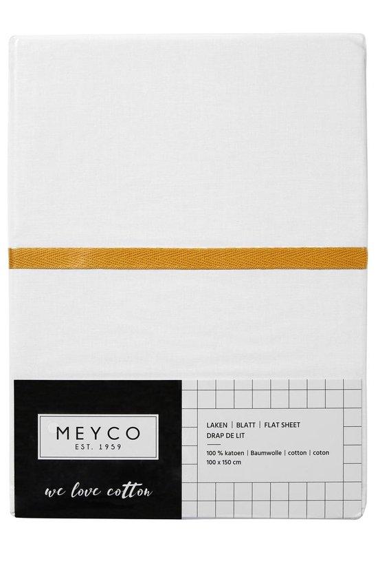 Meyco wieglaken wit met bies - 75 x 100 cm - okergeel