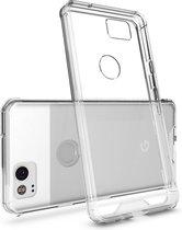 Voor Google Pixel 2 acryl + TPU dekken schokbestendige transparant Armor beschermende terug Case(Transparent)