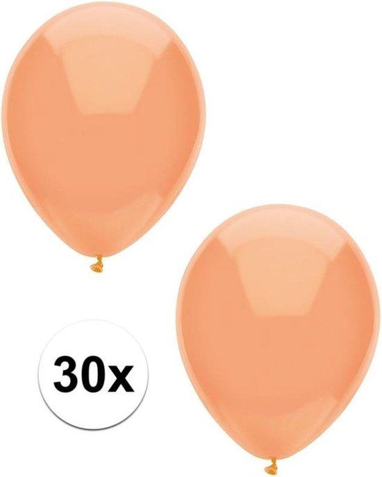 30x Perzik oranje metallic ballonnen 30 cm - Feestversiering/decoratie ballonnen perzik oranje