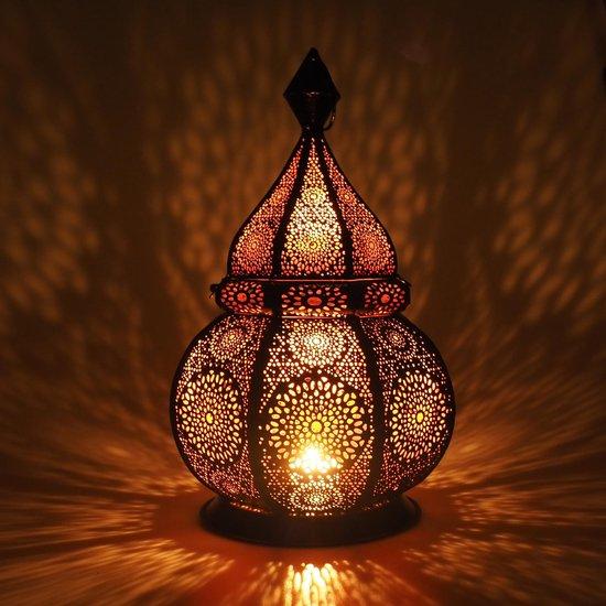 Gadgy Oosterse Lantaarn - Windlicht geschikt voor Kaarsen en Electrische verlichting - 36cm - Zwart Metaal