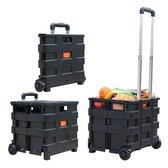 MH label - XXL - Boodschappentrolley - 70 Liter - Inklapbaar boodschappenkrat - Vouwkrat op trolley - Boodschappenkar - Opbergkrat - Opvouwbaar - Krat trolley