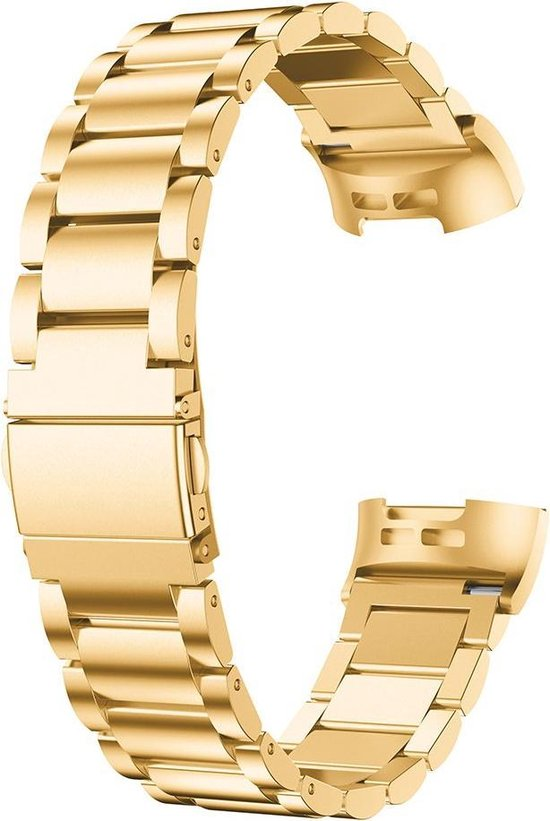 Metaal schakel horloge bandje Goud geschikt voor Fitbit Charge 3 / Charge 4 - SmartphoneClip