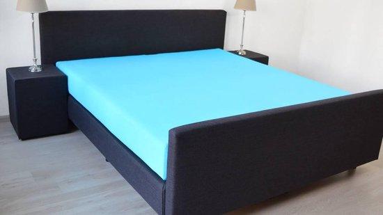 Snoozing - Katoen - Extra Hoog - Hoeslaken - Eenpersoons - 100x200 cm - Turquoise