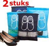 2 STUKS Waterdichte schoenen opberg zak - tas voor op reis en vakantie | Extra Groot 44 x 32 cm | Donkerblauw met doorzichtig venster | Milieuvriendelijk en Waterafstotend | opslag & opbergen schoenen | Makkelijk in de reis koffer  | Handige Reisacce