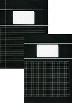 Benza - Basic Schriften A4 Lijn en Ruit 10 mm 1 cm - Zwart - 6 stuks