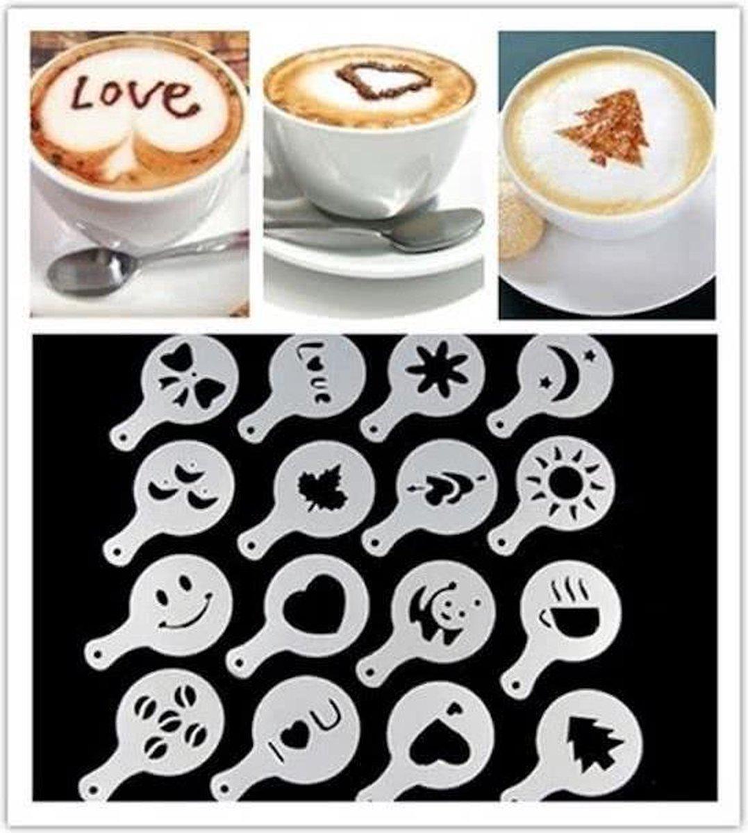 Postdrogist - Cappuccino sjabloon - Koffie Sjablonen - Herbruikbaar - Barista Tools - 16 stuks - postdrogist