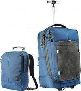 CabinMax X One Hybride Handbagage Koffer - Rugzak - Dagtas - Trolley Reistas - Handbagagekoffer 38L -55x35x20cm - Blauw (X1 BE)