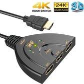 HDMI Switch - Splitter 3 in naar 1 uit - 3 in 1 - 4K resolutie - Indicatie LED + Pigtail - Zwart - Adge®