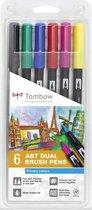 Tombow ABT Dual Brush tekenpennen - Primaire kleuren - Set van 6