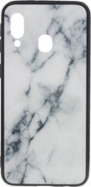 Shop4 - Samsung Galaxy A20e Hoesje - Harde Back Case Marmer Wit