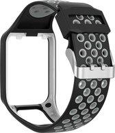 Siliconen Sportband Voor Tomtom Adventurer / Golfer 2 / Spark / Runner 2/3 - Armband Polsband Strap - Zwart/Grijs