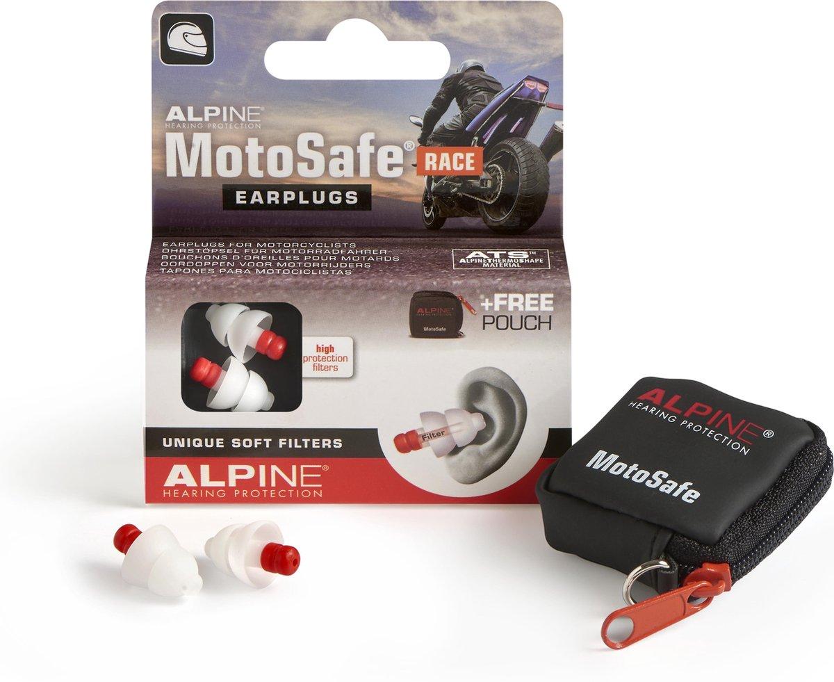 Alpine Motosafe Race - Motor oordoppen - Gehoorbescherming Race - Wit - 1 set
