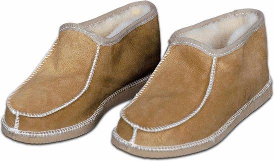 Schapenvacht pantoffels - Lamsvacht heren sloffen - Camel - Maat 43