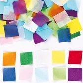 Gekleurde minivierkantjes van vloeipapier  (4000 stuks per verpakking)