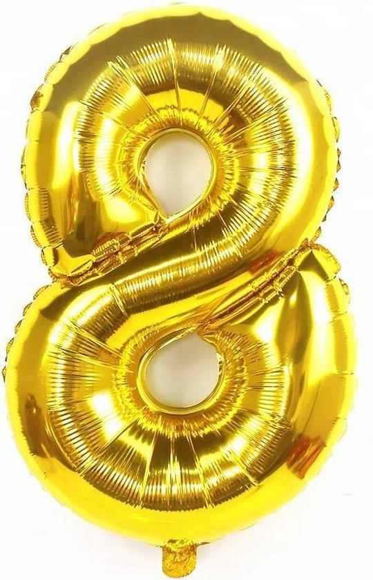 XL cijferballon 100 cm goud nummer 8 | nummer ballon | cijfer ballon