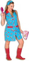 Toiletjuffrouw kostuum met bloemen 44 (2XL)