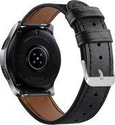 Bandje leer zwart geschikt voor Samsung Galaxy Watch 46mm en Gear S3