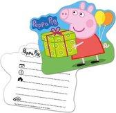 6x Peppa Pig themafeest kinderfeest uitnodigingen - Thema feest uitnodigingen