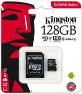 Kingston Canvas Select MicroSDHC Class 10 UHS-I - 128GB - inclusief SD adapter
