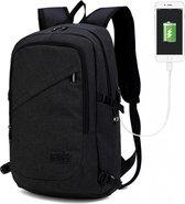 Rugzak - Laptoptas inclusief USB Oplaadstation - Schooltas - Werktas - Zwart - Kono (E6715 BK )