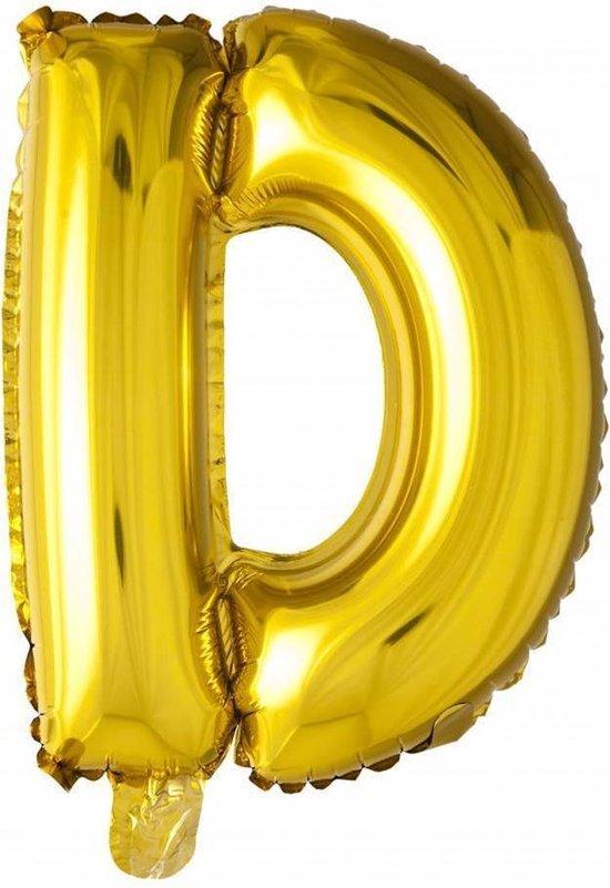 Folie Ballon Letter D Goud 41cm met rietje