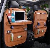 Luxe Auto Organizer met Tablet Houder Autostoel Organiser Ipadhouder voor Kinderen – Cognac Bruin