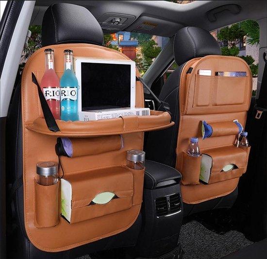 Afbeelding van Luxe Auto Organizer met Tablet Houder Autostoel Organiser Ipadhouder voor Kinderen – Cognac Bruin