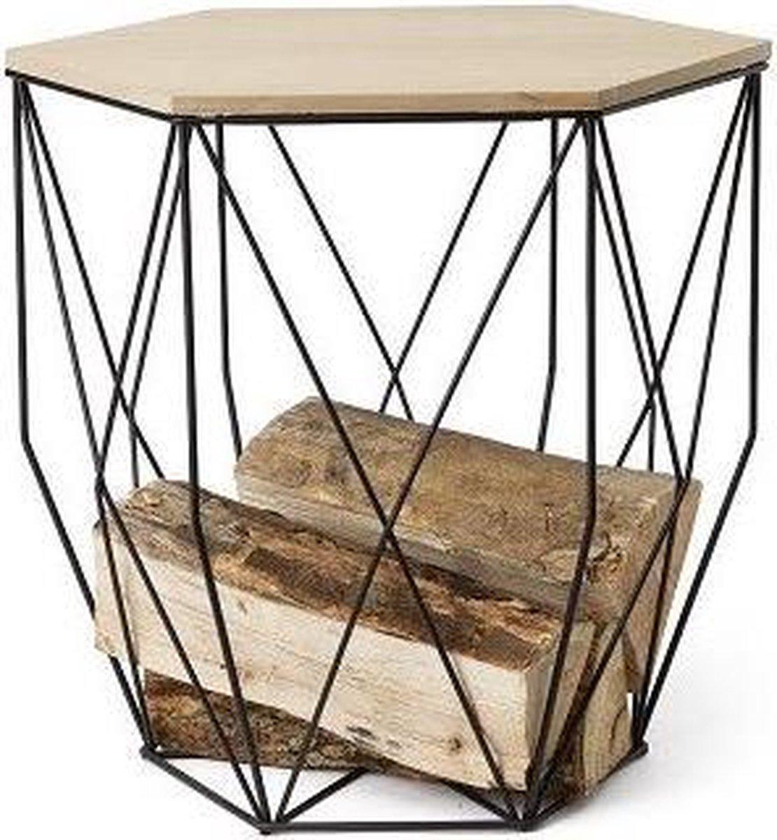 Bijzettafel- opbergmand metaal- met houten deksel 40x35x39 cm - DIt & Dat &zo