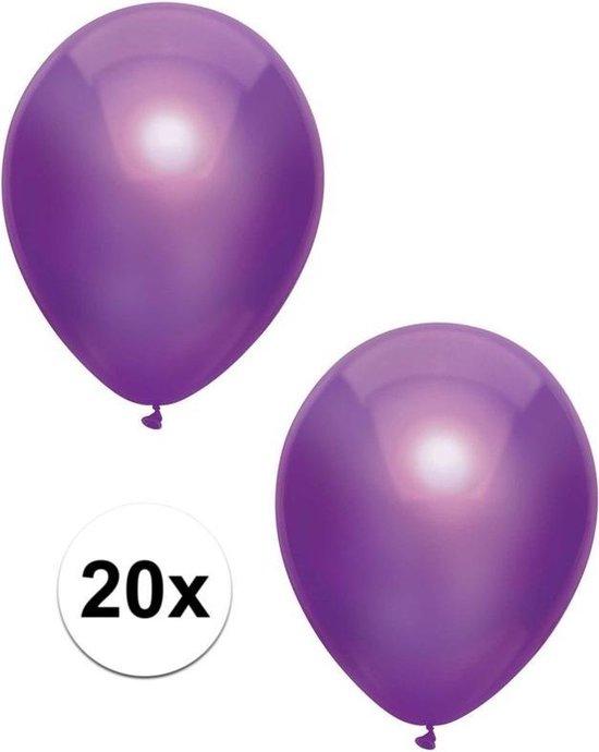 20x Paarse metallic ballonnen 30 cm - Feestversiering/decoratie ballonnen paars